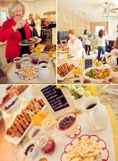 Wedding-day brunch for party/moms: waffle bar. Pre-make all the waffles so they can just be popped in the toaster. Christmas Brunch, Christmas Breakfast, Christmas Morning, Crepes, Waffles, Waffle Bar, Waffle Toppings, Baby Shower Brunch, Brunch Wedding