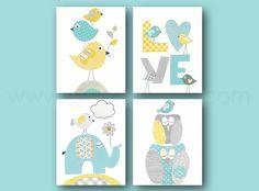 Lot de 4 illustrations 18x24 cm pour chambre d'enfant et bebe, aqua bleu jaune gris