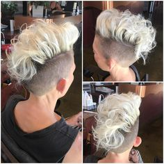 Quick styling tips for this Platinum Curly Undercut Mohawk Style Pixie and other cool short hairstyles at Hairstyleology.com