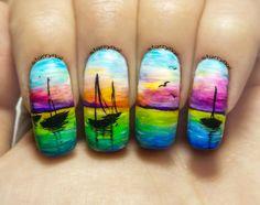 Sunset at Sea Freehand Nail Art. Handmade Fake Nails, False Nails, Press On Nails, Micropainting On Nails by StarryNail on Etsy Beach Nail Art, Beach Nails, Tropical Nail Art, Posh Nails, Get Nails, Cute Nail Art, Fabulous Nails, Cute Nail Designs, Creative Nails