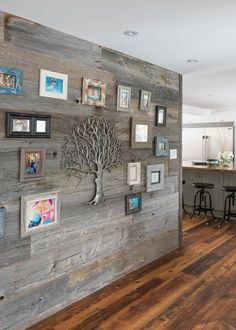 """What do you think about this """"family tree"""" wall? Looks like a fun way to display your favorite memories at home! If you know anything about Modern in at all, you will know that the concept of a Japanese inspired bathroom. Wooden Wall Decor, Wooden Walls, Wood Wall Design, Modern Home Interior Design, Rustic Apartment, Pole Barn Homes, Wall Cladding Panels, Creative Decor, Country Decor"""
