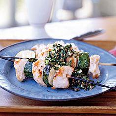 Spiedini of Chicken and Zucchini with Almond Salsa Verde   MyRecipes.com