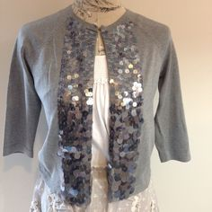 Ann Taylor Gray Sequin Button Sweater S Sequins going down front. Top small and get bigger as they get to bottom. Ann Taylor Sweaters