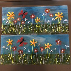"Nana's Garden - ready for the kiln! 4"" X 9"" panels to be soft fused and then slumped in a wave mold so it will stand by itself. By Kim Natwig."