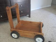 Handmade wooden push cart