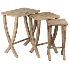 "Three-piece wood nesting table set with natural finishes.  Product: Small, medium and large nesting tablesConstruction Material: WoodColor: NaturalFeatures: Artful craftmanshipDimensions: Small: 23.5"" H x 11"" W x 11.5"" DMedium: 25"" H x 16"" W x 13"" DLarge: 27"" H x 20"" W x 14.5"" D"