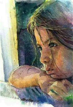 Watercolor portrait girl by Carl Purcell Painting Of Girl, Painting & Drawing, Watercolor Portraits, Watercolor Paintings, Watercolours, Portrait Girl, Art Aquarelle, Beautiful Paintings, Love Art