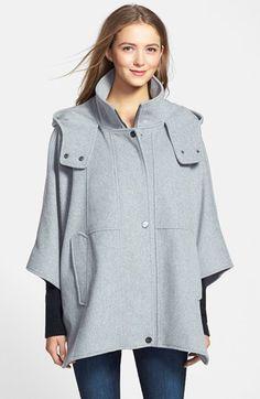 DKNY 'Blythe' Hooded Wool Blend Cape