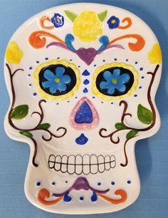 Day of the Dead Sugar Skull Dia de los Muertos Mexico Ceramic Candy Plate Dish