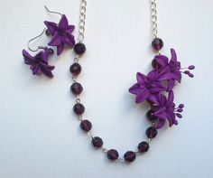 Violet necklace and earrings Lily jewelry Handmade by insou