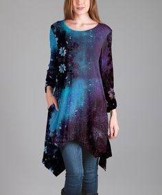 Love this Purple & Blue Night Sky Sidetail Tunic on #zulily! #zulilyfinds