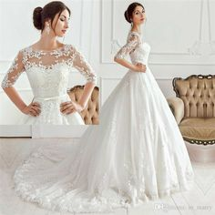 Romantic Long Sleeves Boho Beach Wedding Dresses 2017 A Line Scoop Lace Appliques Plus Size Unique Custom Made Bridal Gowns Vestido De Novia Victorian Wedding Dresses 2015 Wedding Dresses A Line Wedding Dresses Online with $245.72/Piece on In_marry's Store | DHgate.com
