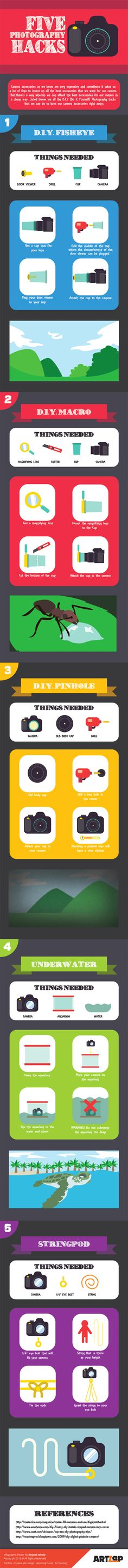 5 DIY Photography Hacks Infographic. Topic: camera, photo gear, photographer.