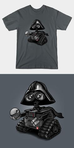 Darth Vader Wall-E T Shirt | This Sith robot spends his days cleaning up planet Earth and ridding the galaxy of rebel scum. Fantastic Star Wars tee design. | Visit Shirt Minion http://shirtminion.com/2016/02/darth-vader-wall-e-t-shirt/