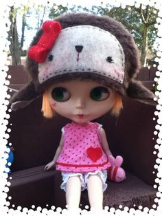 Sweet animal hat for Blythe by AnimeJenny on Etsy, $22.00