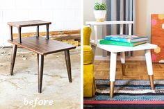 Mid Century Modern Side Table Makeover – Sarah Hearts Mid Century Modern Side Table Makeover – Sarah Hearts,Home Sweet Home. Loving this before and after of a mid-century side table. Such a simple transformation. Refurbished Furniture, Repurposed Furniture, Furniture Makeover, Home Furniture, Furniture Design, Painting Furniture, Furniture Stores, Antique Furniture, Industrial Furniture