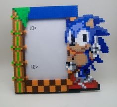 Sonic the Hedgehog Perler Frame by YumesPixelCrafts on Etsy, $23.00