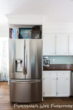 We built an enclosure for our refrigerator. I love the custom look the enclosure gives to the kitchen and I like that a big, bulky fridge is...and got a counter depth fridge to save space