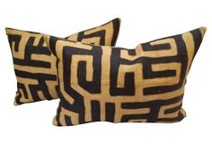 One Kings Lane - Magnificent Mix - African Kuba Cloth Pillows, Pair