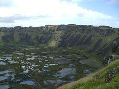 En el crater del volcán Rano Kau, que ya está extinto, se formó una laguna con la lluvia. Ahora crecen muchas plantas ahí. Flora. Rapa Nui, Isla de Pascua, Chile. On the extinct crater of Rano Kau volcano, the rain formed a lagoon where lots of vegetation grows. Easter Island.