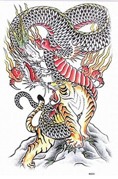 GRASHINE Extra large dimension Length X Wide fake and realistic temporary tattoos dragon and tiger fighting for full back for women -- You can find more details by visiting the image link. (This is an affiliate link) Dragon And Tiger Tattoo, Tiger Dragon, Blue Dragon, Long Lasting Temporary Tattoos, Realistic Temporary Tattoos, B Tattoo, Tattoo Kits, Knife Tattoo, Fighting Tattoo