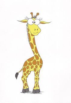 giraffe cartoon by Paskepaintings on Etsy, $15.00