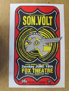 Original concert poster for Son Volt at the Fox Theatre in Boulder, Colorado in 2005. 13 x 20 inches. Signed and numbered 58/99 by the artist Jeff Holland