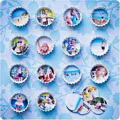 DIY bottle cap photo magnets and thumb tacks. (Site is in Swedish and English) Bottle Cap Magnets, Bottle Cap Art, Bottle Top, Beer Bottle, Crafts To Make, Fun Crafts, Crafts For Kids, Arts And Crafts, Diy Bottle Cap Crafts