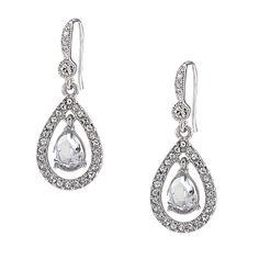 Carolee Kate Crystal Teardrop Pierced Earrings from Bijoux Closet