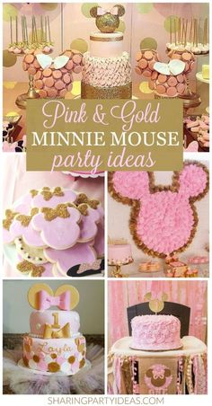 Pink & Gold Minnie Party Ideas :http://sharingpartyideas.com/pink-gold-minnie-party-ideas/