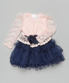 Pink & Navy Lace Peplum Ruffle Dress - Toddler & Girls by Blossom Couture #zulily #zulilyfinds