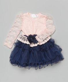 Pink & Navy Lace Peplum Ruffle Dress - Toddler & Girls by Blossom Couture #zulily #zulilyfinds