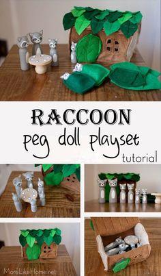 More Like Home: Raccoon Peg Doll & Felt Playset Tutorial - PEG Dolls - Stofftiere Wood Peg Dolls, Clothespin Dolls, Wood Toys, Felt Diy, Felt Crafts, Diy For Kids, Gifts For Kids, Mini Mundo, Diy Cadeau