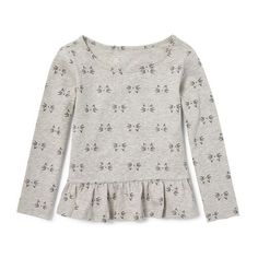 Baby Girls Toddler Long Sleeve Embellished Printed Peplum Top - Gray - The Children's Place