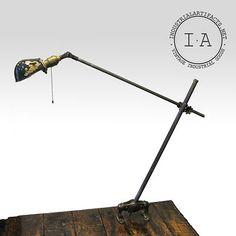 Vintage Industrial O C White Desk Wall Mount Lamp Beautiful Shade   eBay