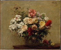 Henri Fantin-Latour (French, 1836–1904). Summer Flowers, 1880. The Metropolitan Museum of Art, New York. Gift of Susan S. Dillon, 1997 (1997.347) | By the time Fantin painted this work, he had established a steady demand in Britain for his exquisite paintings of informal flower arrangements, set in modest vases and seen against a neutral ground.