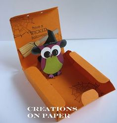 Bitty Box Pop out Halloween Owl-Witch - Creations on Paper