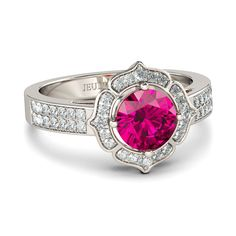 #AdoreWe #Jeulia Jewelry - Jeulia Flower Design 1.26CT Round Cut Created Fuchsia Sapphire Engagement Ring  - AdoreWe.com
