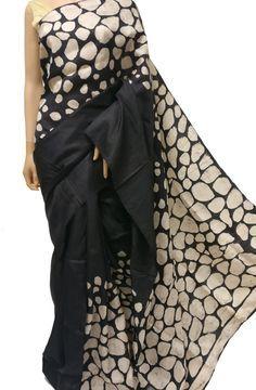 Black Handloom Block Printed Batik Murshidabad Silk Saree