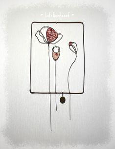 fleurs coquelicots boutons et tissu - art fil de fer wire art by latelierdesof - sur commande et site Art Fil, Drawing, Creations, Playing Cards, Craft Art, Poppies, Sons, Atelier, Buttons