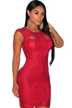 ce6eae301f Chicloth Nude Illusion Sleeveless Bodycon Dress Red Optical Lace Sukienki  Klubowe