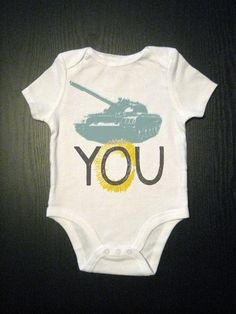 Tank You - Funny Baby Onesie Kids Shirt - Military Theme - Blue or Yellow.