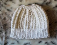 Messy Bun Beanie in White with cool texture. On Etsy by Hott Knots Made in Italy. Beautiful!