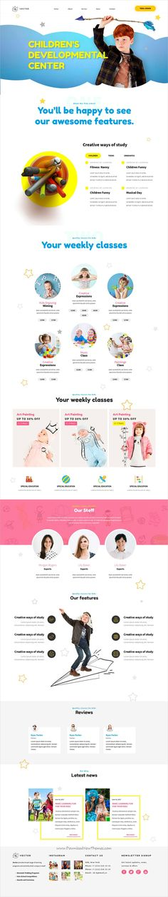 Vector is clean and modern design responsive #Adobe muse template for #kindergarten, preschool or #daycare centers website download now..