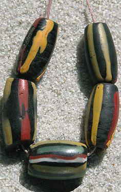 Trade Beads - 5 Venetian Striped Beads