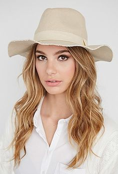 Raw-Edged Canvas Fedora | Forever 21 - 2000098034