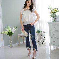 BYRAN OVERLAY RUFF BL . . . #koreanfashion #kfashion #glamour #beauty #gorgeous #OverlayRuffBLouseFashion #BeaGorgeousHera Glamour Beauty, Blouse Styles, Overlays, Korean Fashion, Capri Pants, Ruffle Blouse, Blouses, Capri Pants Outfits, Blouse