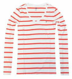 Tommy Hilfiger Women V-neck Thin Stripe Long Sleeve Logo Tee (XXL, White/red) Tommy Hilfiger,http://www.amazon.com/dp/B00IZMIMDW/ref=cm_sw_r_pi_dp_j6untb1NC3T3GZPX