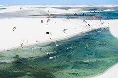 Red Bull Rally dos Ventos in Brazil. A unique kitesurfing event in Brazil's Lencois Maranhenses National Park. Long distance race across the sand dunes. Marcelo Maragni/Red Bull #kitesurfing #kiteboarding #kitespots #kitetravel