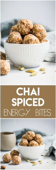 These Chai Spiced Energy Bites are the perfect snack this fall! This recipe is simple and with all the cozy spices of a chai tea latte--no baking required! #chai #chaitea #chailatte #tea #nobake #energybites #snack #simplerecipe